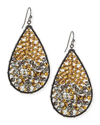 Beaded Crystal Teardrop Earrings