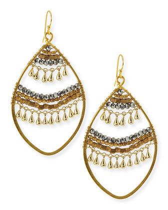 Open Beaded Crystal Earrings, Golden