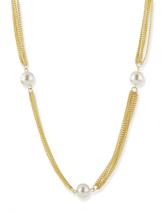 Simulated Pearls and Chain Necklace