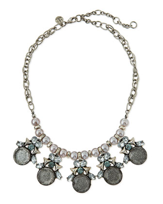 Sparkle Glitter & Pearly Statement Necklace