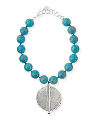 Blue Jasper Bead Necklace with Silver Pendant
