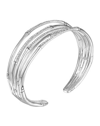 Bamboo Silver Narrow Flex Cuff with Diamonds