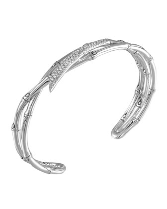 Bamboo Silver Narrow Squeeze Cuff with Diamonds