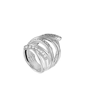 Bamboo Silver Extra-Wide Diamond Ring, Size 7