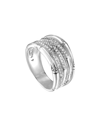 Bamboo Wide Silver Ring with Diamonds, Size 7