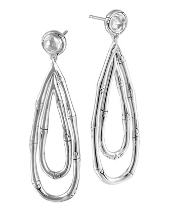 Bamboo Silver Drop Earrings with White Topaz