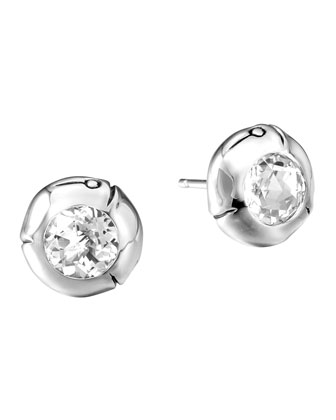 White Topaz & Silver Bamboo Stud Earrings