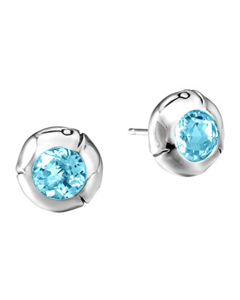 Blue Topaz and Silver Bamboo Stud Earrings