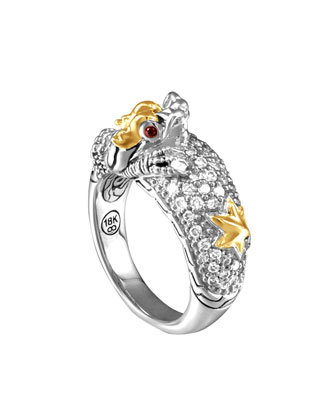 Naga Gold & Silver Diamond Slim Dome Ring