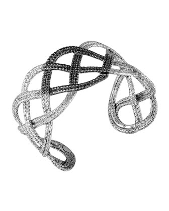 Classic Chain Silver Lava Wide Braided Cuff with Black Sapphire