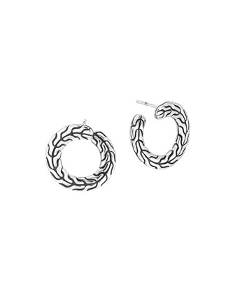 Silver Round Carved Chain Earrings