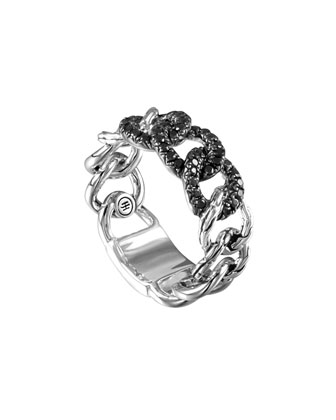Lava Round Link Band Ring with Black Sapphire