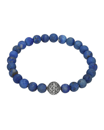 Matte Lapis Beaded Bracelet with Magnetic Clasp