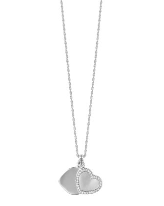 Silver Diamond Double Heart Locket Necklace