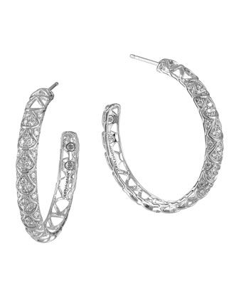 Naga Silver Diamond Pave Hoop Earrings