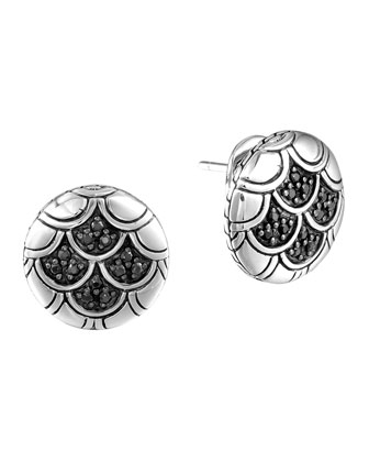 Naga Silver Lava Button Earrings with Black Sapphire