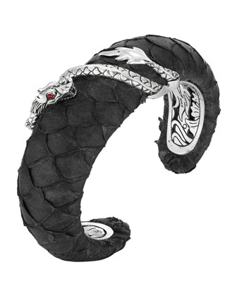Naga Exotic Leather Bold Cuff Bracelet, Black