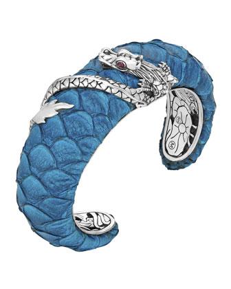 Naga Exotic Leather Bold Cuff Bracelet, Turquoise