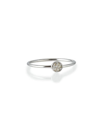 White Gold Pave Diamond Disc Ring, Size 6