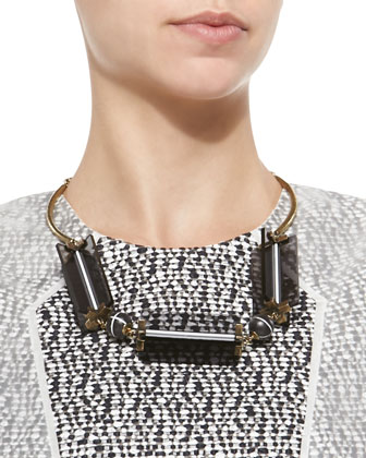 Two-Tone Cutout Station Necklace, Gray/Golden