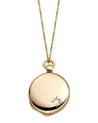 14k Gold Astley Locket Necklace with Moonstone