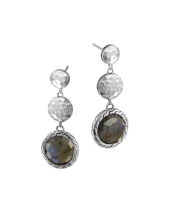 Silver Triple Drop Labradorite Earrings