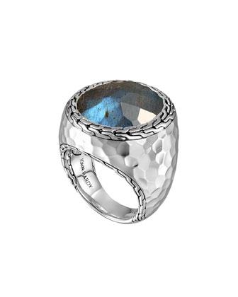 Palu Silver Large Oval Labradorite Ring, Size 7