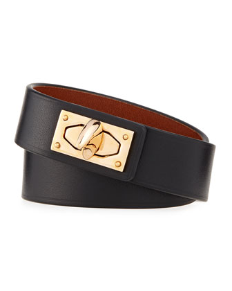 Calf Leather Shark-Lock Wrap Bracelet, Black