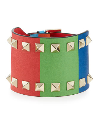 Wide Striped Rockstud Cuff