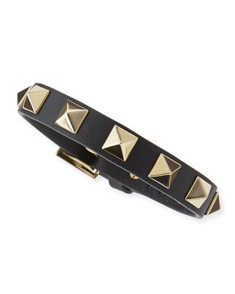Small Rockstud Leather Buckled Bracelet, Black