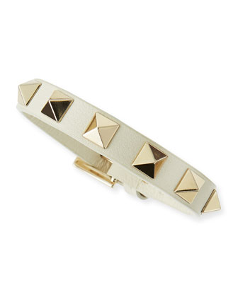 Small Rockstud Leather Buckled Bracelet, Ivory