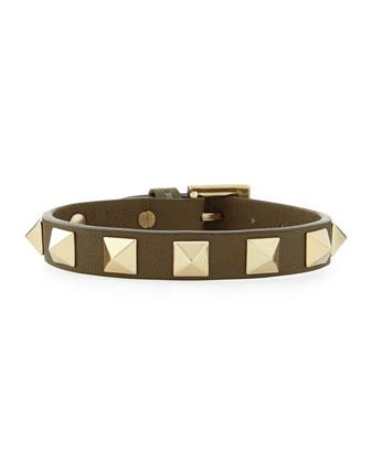 Small Rockstud Leather Buckled Bracelet, Green