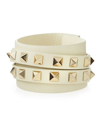 Rockstud Leather Wrap Bracelet, Ivory