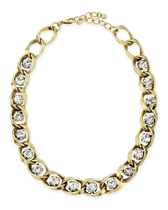 Golden Chain & Crystal Collar Necklace
