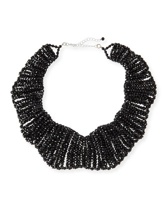 Crystal Beaded Collar Necklace, Black