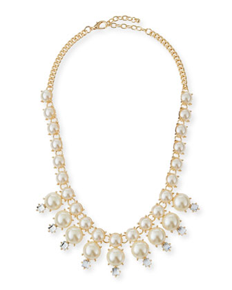 Faux-Pearl Crystal Necklace