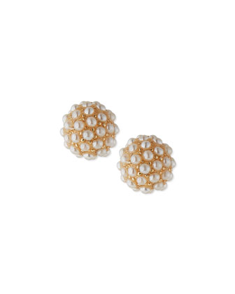 Audrey Faux-Pearl Cluster Stud Earrings, Yellow Golden