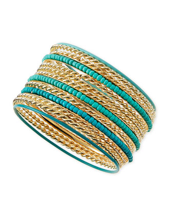 Beaded Golden Bangles, Set of 13