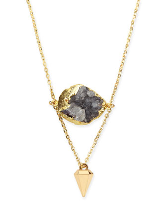 Purple Druzy Layered Drop Necklace