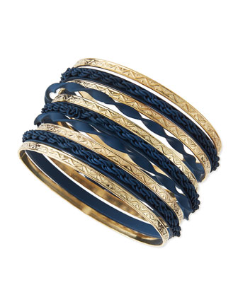 Matte & Golden Bangles, Set of 10