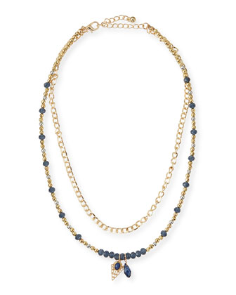 Beaded Charm Necklace, Navy
