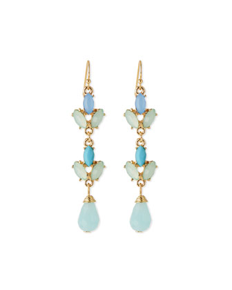 Leaf Crystal Drop Earrings, Turquoise
