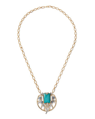 Jewel-Pendant Chain Necklace, Blue
