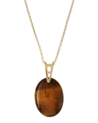 Long Oval Pendant Necklace, Amber