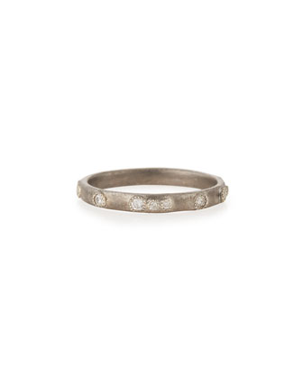 Scattered Diamond Silver Stacking Ring