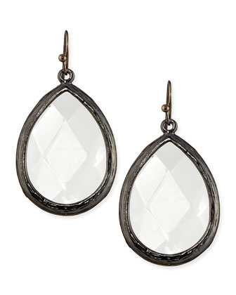 Teardrop Earrings, Clear/Gunmetal