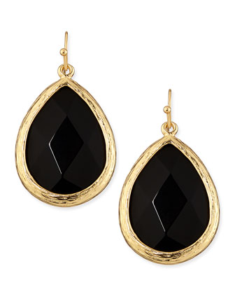 Teardrop Earrings, Golden/Black