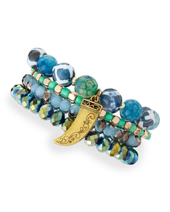 Beaded Horn-Charm Bracelet Set, Blue/Green