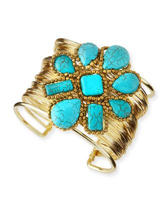 Turquoise Flower Wire Cuff Bracelet