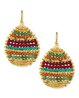 Beaded Teardrop Earrings, Multicolor